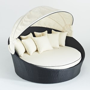 Royale Riche VIP Luxury Rattan Daybed - Black and Ivory