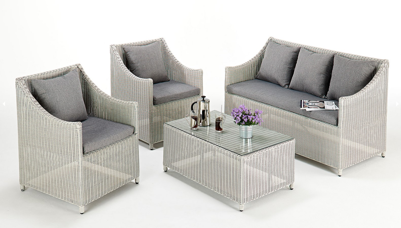 Kathleen Contemporary Rattan Sofa Set All Weather Rattan Garden Furniture