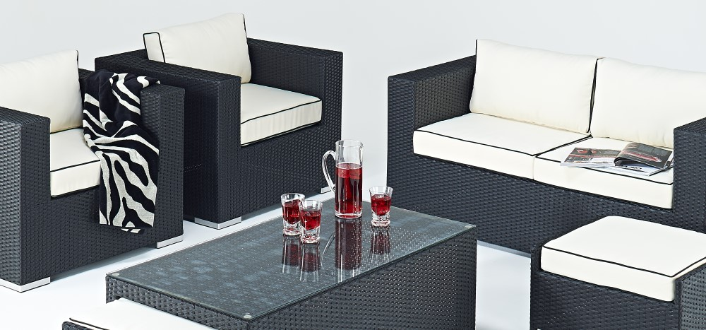 Beau Black Rattan Sofa Set
