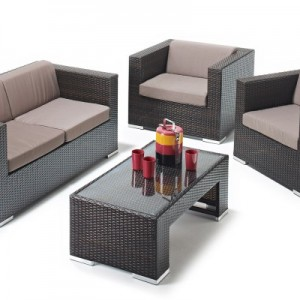 Scarlett Elegant Rattan Sofa Set Brown