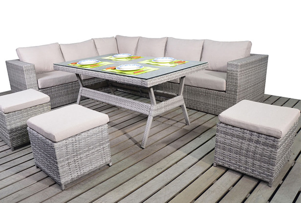 Olivia Verdant Rattan Corner Sofa Dining Table Set (RIGHT)